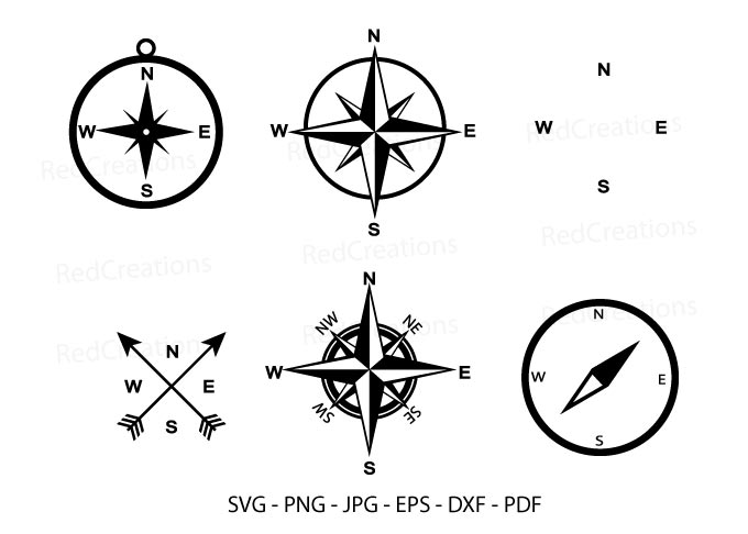 Compass, Compass Rose Silhouette SVG File