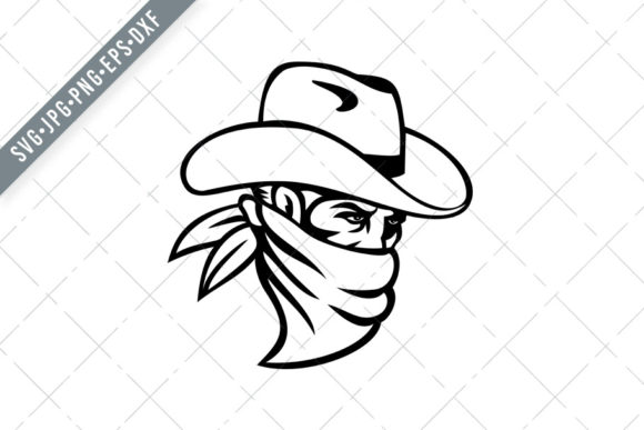 Print on Demand: Cowboy Bandit Outlaw Wearing Face Mask Gráfico Ilustraciones Por patrimonio