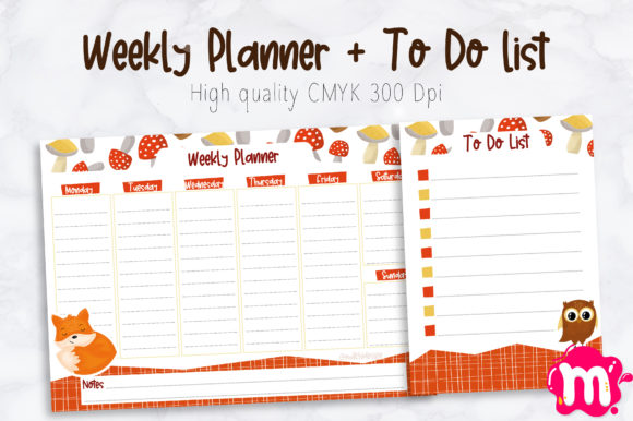 Print on Demand: Cute Fall Weekly Planner + to Do List Graphic Print Templates By Mutchi Design
