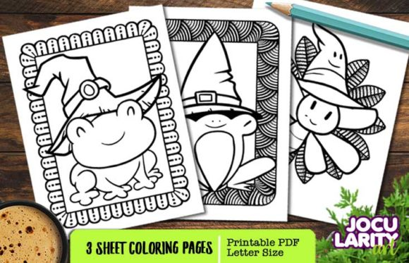 Cute Frogs Dragonfly Coloring Pages Graphic