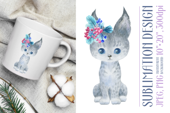 Print on Demand: Cute Watercolor Lynx. Sublimation Design Graphic Crafts By Olga Belova