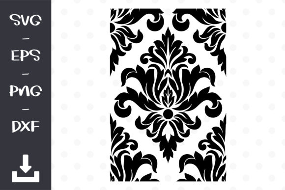 Damask for Wall Stencil Vector Graphic Patterns By wanchana365