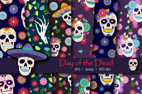 Print on Demand: Day of the Dead Sugar Skull Pattern Graphic Patterns By jannta - Image 1