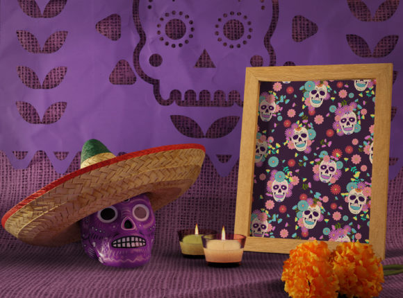 Print on Demand: Day of the Dead Sugar Skull Pattern Graphic Patterns By jannta - Image 5