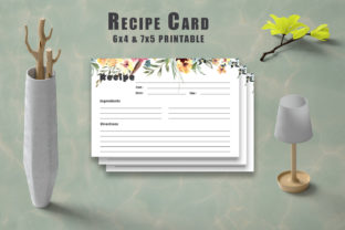 Print on Demand: Floral Recipe Card Printable V33 Graphic Print Templates By Creative Tacos