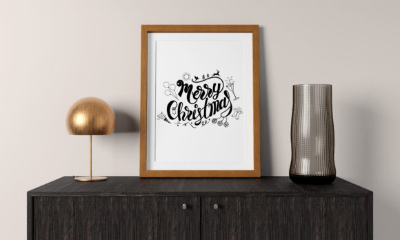 Merry Christmas Lettering with Accessory Graphic Illustrations By baigern