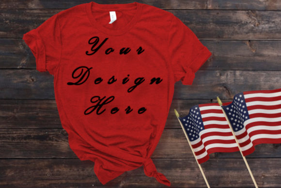 Mockup Red Shirt, American Flag Graphic Product Mockups By MockupsByGaby