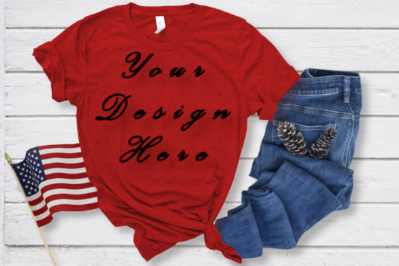 Mockup Red T-shirt, Bella Canvas 3001 Graphic Product Mockups By MockupsByGaby