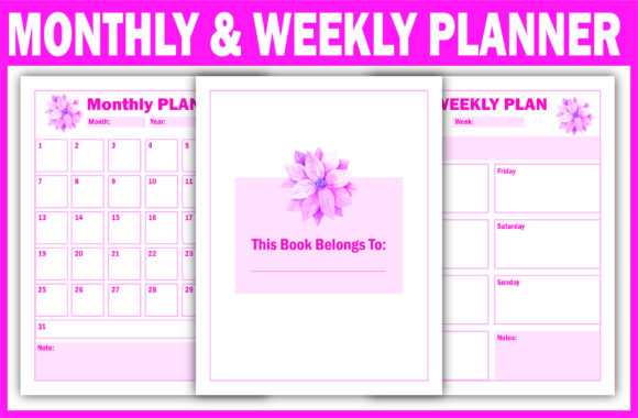 Print on Demand: Monthly & Weekly Planner Ready for KDP Graphic KDP Interiors By Fayne