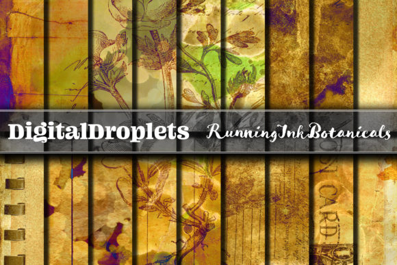 Running Ink Botanicals Graphic Backgrounds By digitaldroplets