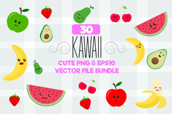 Print on Demand: Set of Kawaii Sticker with Fruits Graphic Illustrations By Mustafa Bekşen