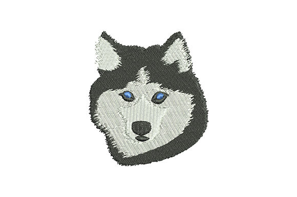 Print on Demand: Siberian Husky Dog Head Dogs Embroidery Design By EmbArt