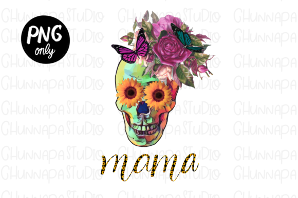 Spooky Mom Skull Sublimation Graphic Print Templates By CSDesign