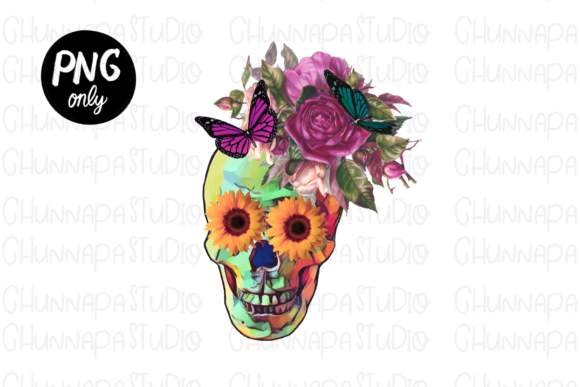 Sublimation Skull Sunflower Download. Graphic Print Templates By CSDesign