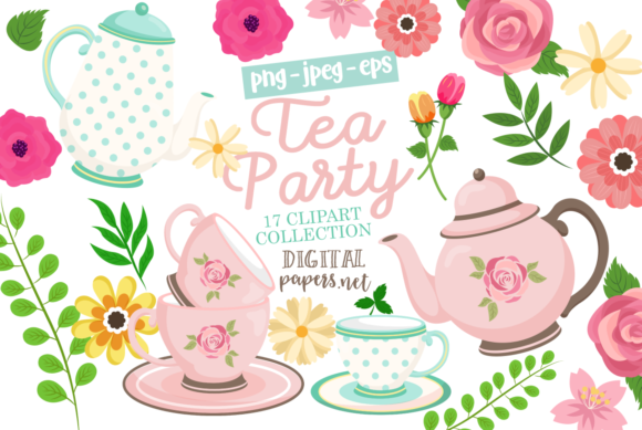 Print on Demand: Tea Party Clipart Graphic Illustrations By DigitalPapers