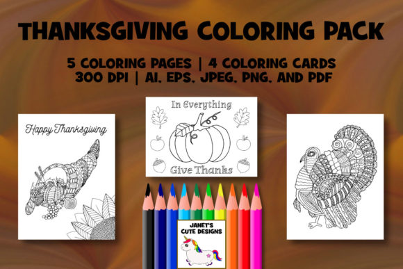 Print on Demand: Thanksgiving Coloring Pack Graphic Coloring Pages & Books By Janet's Cute Designs