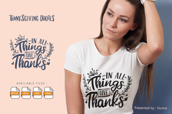 Print on Demand: Thanksgiving | Lettering Quotes Grafik Plotterdateien von Vunira