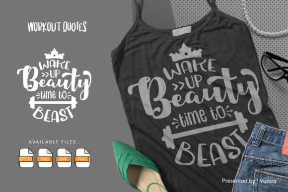 Print on Demand: Workout | Lettering Quotes Graphic Crafts By Vunira