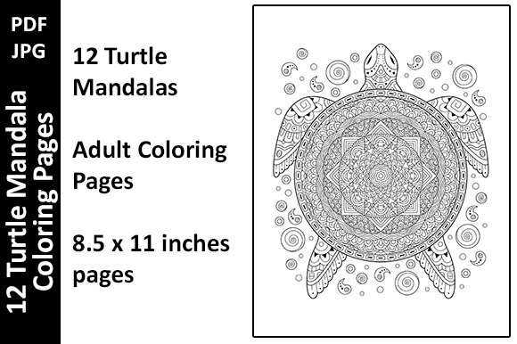 12 Turtle Mandalas Unique Coloring Pages Graphic Coloring Pages & Books Adults By Oxyp - Image 1