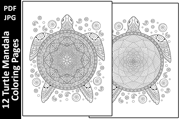 12 Turtle Mandalas Unique Coloring Pages Graphic Coloring Pages & Books Adults By Oxyp - Image 2