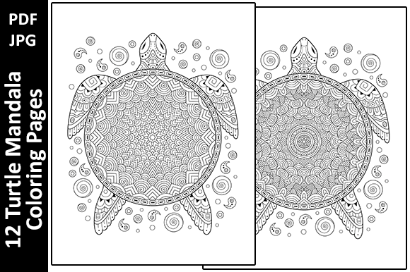 12 Turtle Mandalas Unique Coloring Pages Graphic Coloring Pages & Books Adults By Oxyp - Image 3