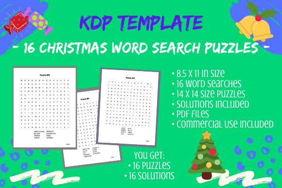 Print on Demand: 16 Christmas 14x14 Word Search Puzzles Graphic KDP Interiors By Tomboy Designs
