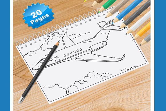 20 Airplane Coloring Pages for Kids Graphic Coloring Pages & Books By Coloring World