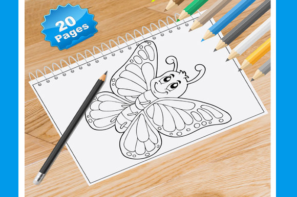 20 Butterflies Coloring Pages for Kids Graphic Coloring Pages & Books Kids By Coloring World