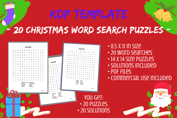Print on Demand: 20 Christmas 14x14 Word Search Puzzles Graphic KDP Interiors By Tomboy Designs