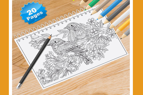 20 Flower Bird Coloring Pages for Adults Graphic Coloring Pages & Books Adults By Coloring World - Image 1