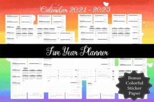 Print on Demand: 2021-2025 5Year Monthly Calendar Planner Graphic KDP Interiors By ArtPrintables Designs