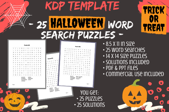 Print on Demand: 25 14×14 Halloween Word Search Puzzles Graphic KDP Interiors By Tomboy Designs