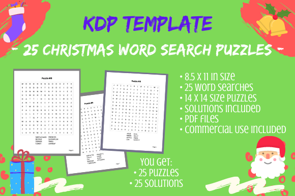 Print on Demand: 25 14x14 Christmas Word Search Puzzles Graphic KDP Interiors By Tomboy Designs