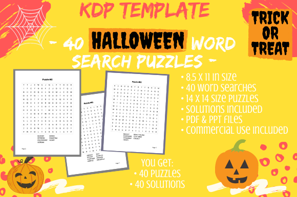 Print on Demand: 40 14×14 Halloween Word Search Puzzles Graphic KDP Interiors By Tomboy Designs