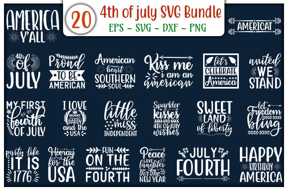Print on Demand: 4th of July Design Bundle Gráfico Plantillas para Impresión Por GraphicsBooth