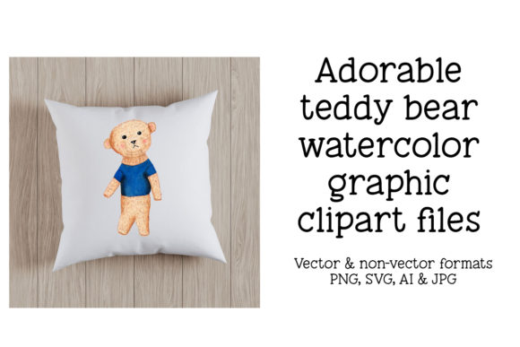 Print on Demand: Adorable Teddy Bear Watercolor Graphic Graphic Crafts By A Design in Time
