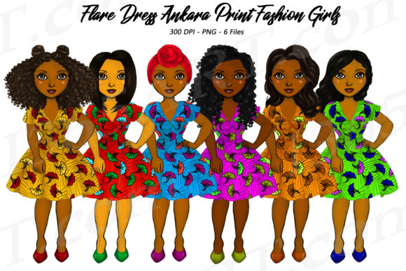 African Ankara Black Woman Clipart PNG Graphic Illustrations By Deanna McRae