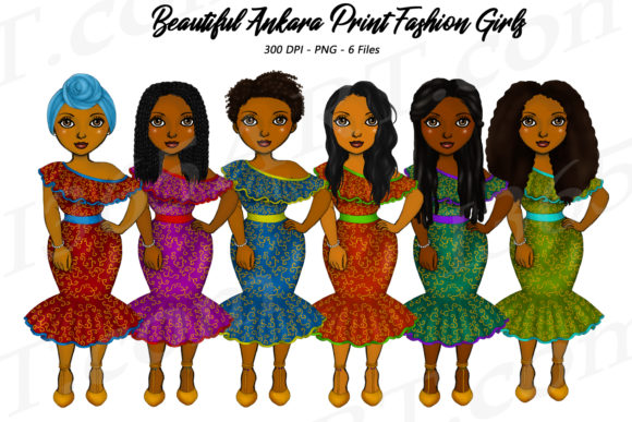 Ankara Girls African Fashion Clipart   Graphic Illustrations By Deanna McRae