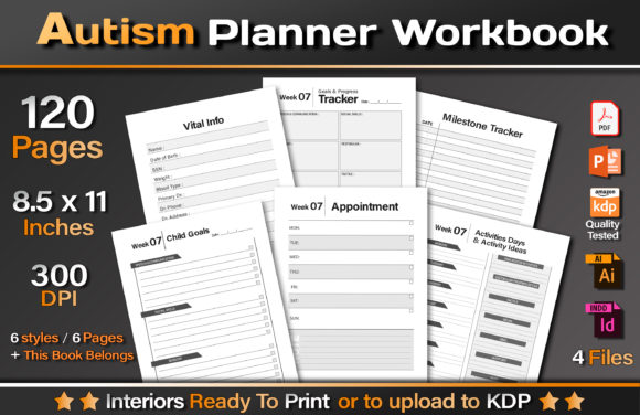 Autism Planner Workbook Graphic KDP Interiors By okdecoconcept