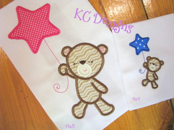 Baby Girl Bear with Star Balloon Boys & Girls Embroidery Design By karen50