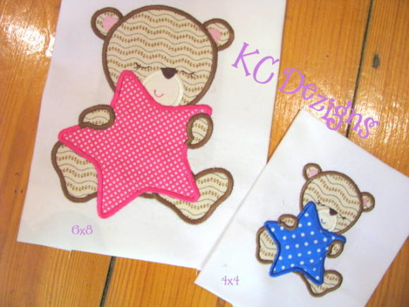 Baby Girl Bear with Star Embroidery
