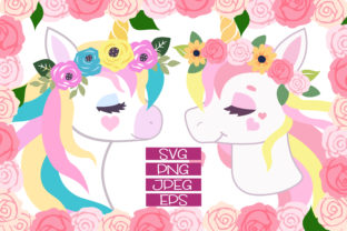 Print on Demand: Beautiful Floral Unicorn Designs Graphic Illustrations By JM_Graphics 1