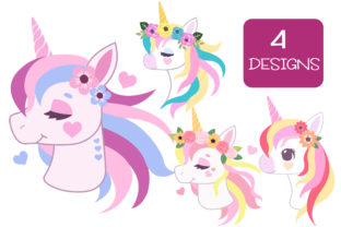 Print on Demand: Beautiful Floral Unicorn Designs Graphic Illustrations By JM_Graphics 2