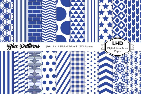 Blue Digital Paper Pack Graphic Patterns By LeskaHamatyDesign