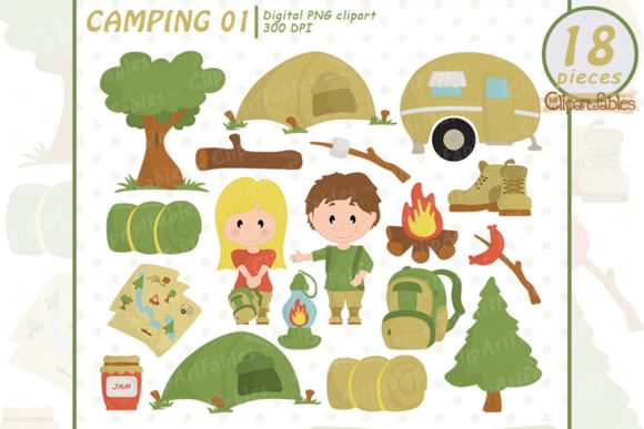 Camping Clipart, Camp Fire Art, Outdoor Graphic Illustrations By clipartfables