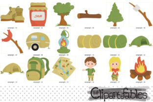 Camping Clipart, Camp Fire Art, Outdoor Graphic Illustrations By clipartfables 2