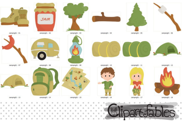 Camping Clipart, Camp Fire Art, Outdoor Graphic Download