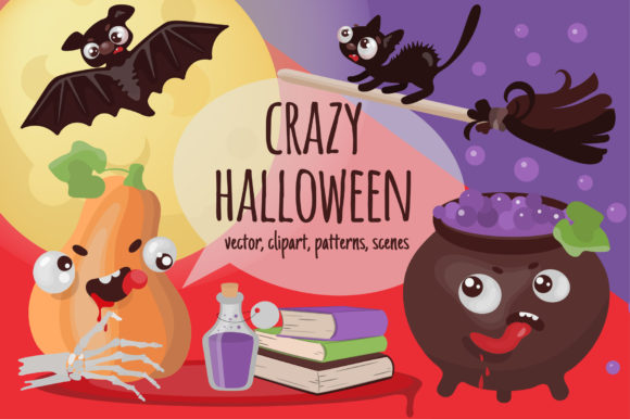 Print on Demand: Crazy Halloween Hand Drawn Vector Set Graphic Illustrations By FARAWAYKINGDOM