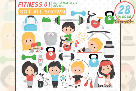 Cute Fitness Clipart Graphic Illustrations By clipartfables