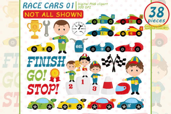 Cute Race Cars Clipart Graphic Illustrations By clipartfables